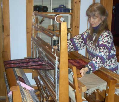 Weaving a chenille scarf.