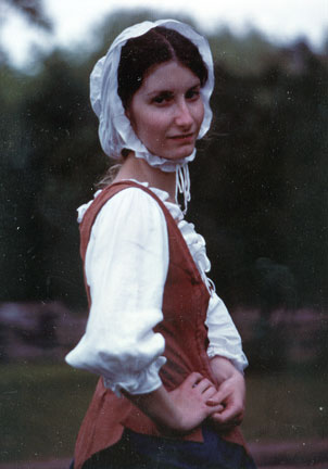 Dressed in 18th century style clothing at Philipsburg Manor.