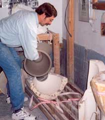Robert removing the largest section of the Waterfall, from its three piece mold.