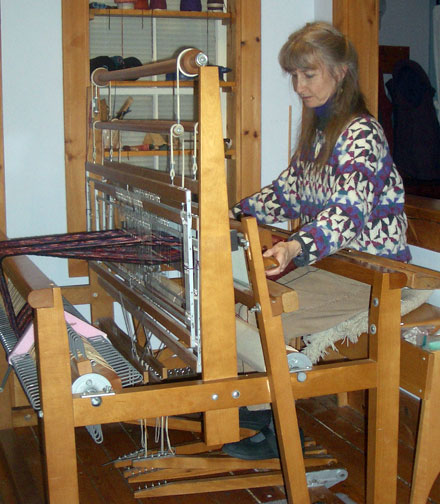 Christine at her loom