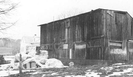 Studio from 1973 before the kiln shed was added.