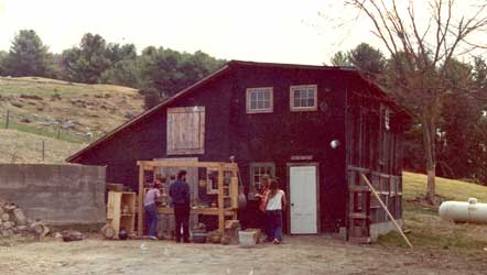 Robert Compton's pottery studio in 1975.