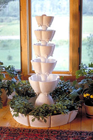 Natural Clay Scalloped Petal Fountain