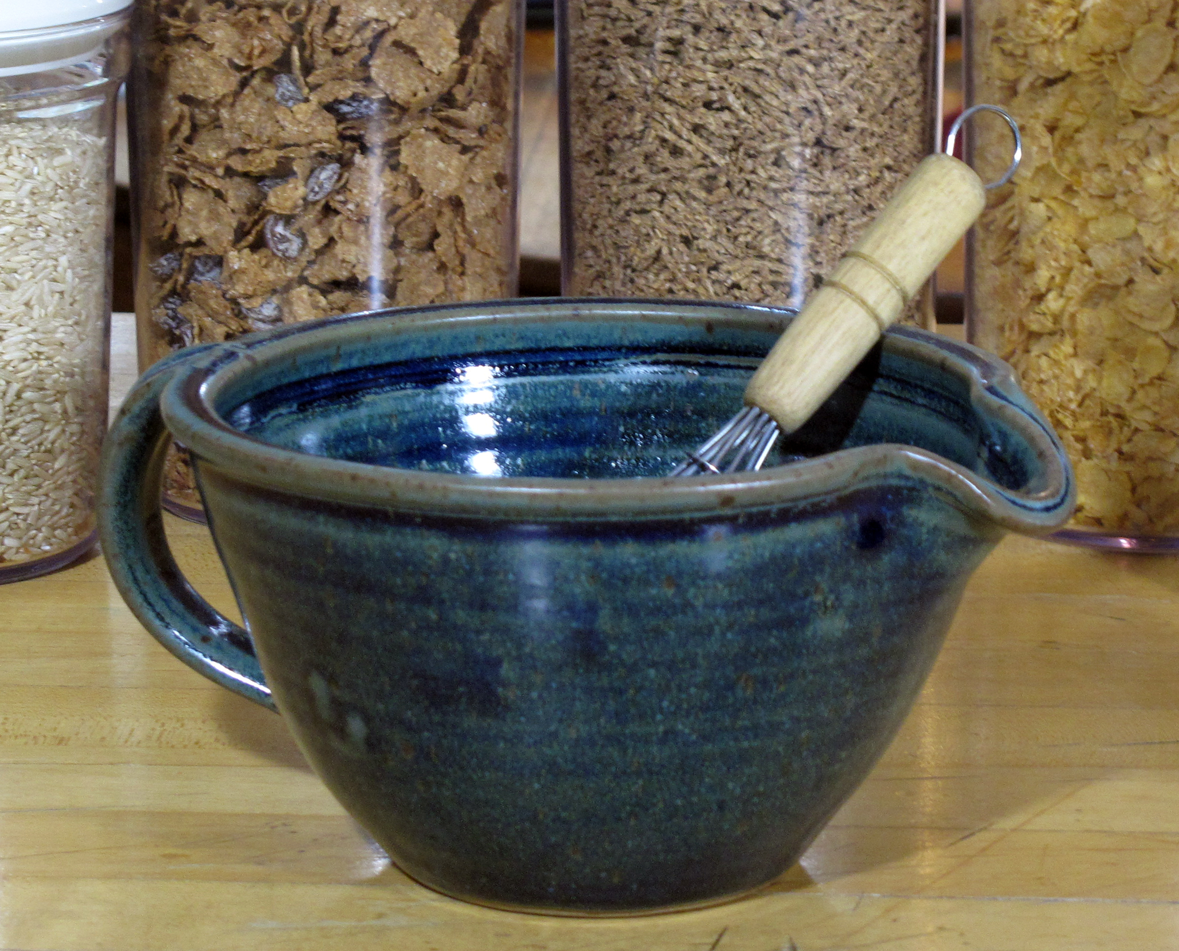 "Blue Glazed ""medium size"" Batter Bowl."