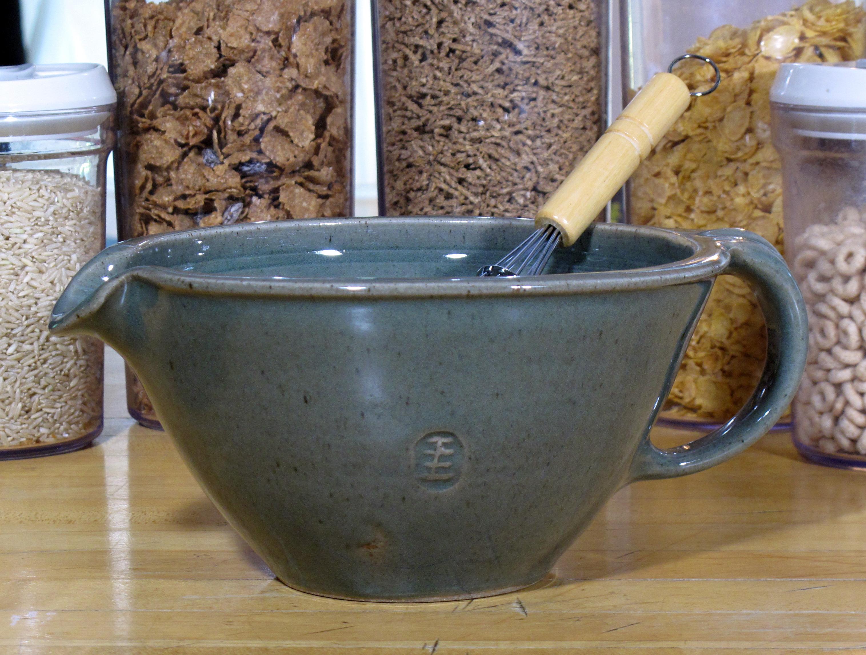 """Iron Green Celadon Glazed """"large size"""" Batter Bowl."""