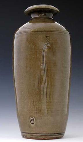Iron Green Celadon Wood Fired Vase, OLS-WF-210